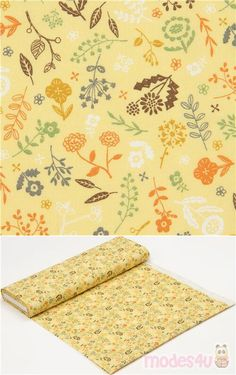 yellow cotton sheeting fabric with flowers, leaves, in blue, brown, orange, green etc., Material: 100% cotton, Fabric Type: smooth cotton printed sheeting fabric #Cotton #Flower #Leaf #Plants #JapaneseFabrics