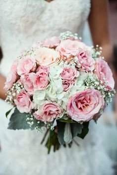 Pink Rose and White Hydrangea Bridal Bouquet | Photo: Sara Joy Photography | Bouquet: Ambiance Floral