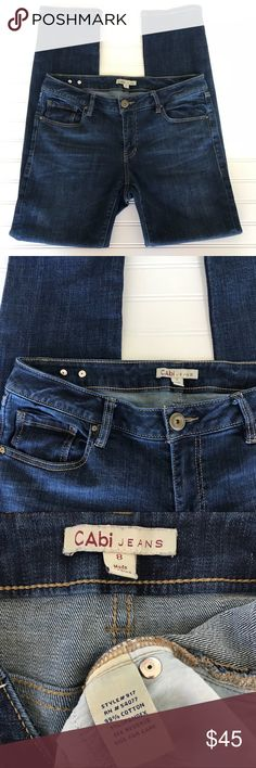 """💐CAbi Jeans, Tapered Boyfriend Style #917, Size 8 Super cute CAbi Jeans Ankle Cut with Inseam of 30"""" Tapered Boyfriend Style #917 Size 8 I've rolled them up to wear them as capis  Excellent condition. Comes from a smoke free home. Check out my other listings for a bundle deal! Happy Shopping🛍🛍 CAbi Jeans Ankle & Cropped"""