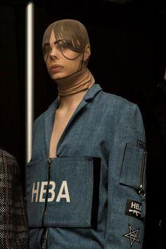 Hood By Air AW15 Dazed backstage womenswear pantyhose blazer