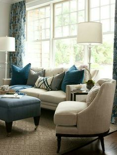 Piano Room Idea Kate Singer Sitting Room At The Hampton Designer Showhouse    Pretty Pillows On Couch And Ottomon  I Love This Room.