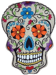 Amazon.com - Karma Living Day of the Dead Embroidered Skull Pillow Orange