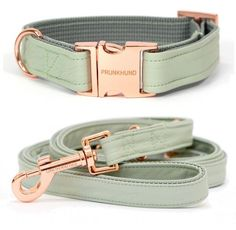 the MINT collar and leash - made from faux leather and ROSE GOLD colored hardware! Shop yours worldwide on http://www.prunkhund.com