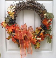 Fall Wreath Front Door Wreath Wine Wreath Wine by AWorkofHeartSA