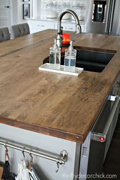 Diy Wood Countertops, Butcher Block Countertops, Butcher Block Stain, Butcher Blocks, Kitchen Island With Sink, Kitchen Redo, Kitchen Ideas, Wooden Kitchen, Kitchen Islands