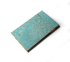 Vintage mid century teal and gold resin notepad score by evaelena
