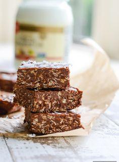 No Bake Peanut Butter Chocolate Coconut Bars   ahealthylifeforme.com