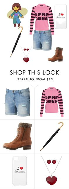 """""""Frisk Undertale"""" by thelittlefanthatcould ❤ liked on Polyvore featuring Jennifer Lopez, American Retro, Charlotte Russe, Totes and Mixit"""