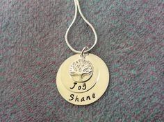 Gifts For Mum, Hand Stamped, Washer Necklace, Personalized Gifts, Sterling Silver, Chain, Jewelry, Jewlery, Bijoux