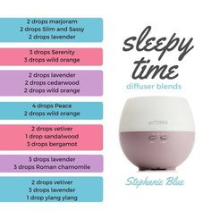 Sleepy time diffuser blends. My favorite though, not listed above, is lavender and vetiver. yum! Find your CPTG essential oils and more at www.mydoterra.com/dianesulzer