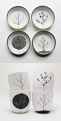 I can do this with the Sharpie idea. Mug, Sharpie design on mug, 350 degree oven for 30 min. -my note: draw with sharpie on mason jar lids and pin to wall Sharpie Crafts, Sharpie Art, Sharpies, Sharpie Projects, Sharpie Plates, Oil Sharpie, Sharpie Drawings, Pottery Painting, Ceramic Painting