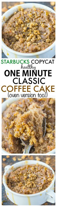 Healthy 1 Minute Classic Coffee Cake- Inspired by Starbucks, this healthy cake recipe is moist, fluffy and SO delicious- There's no oil, butter or added sugar AND it only takes one minute- Oven option too! {vegan, gluten free, paleo}- http://thebigmansworld.com