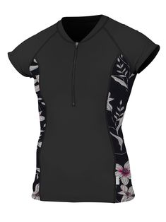 3a6f0f9ca5ac canoeing - ONeill Womens Cap Sleeve Sun Shirt Front Zip Black Albany Floral  Large.