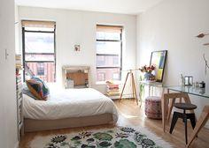 "Sneak Peek: Best of Studio Apartments. ""When Lotta Nieminen moved to New York, she didn't gain much space. (See floor plan immediately below)."" #sneakpeek"