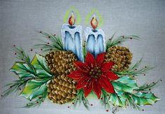 Pintura em Tecido Passo a Passo: Pintura em Tecido de Natal Velas e pinhas com…