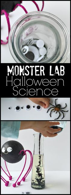 Monster Lab Fun for Halloween Science for Kids. Create spooky moments of science this halloween to spark their imagination and build their monster sized observation skills .  Love that it uses everyday household items too!