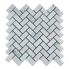 "Buy Carrara White Marble Honed 1 x 2 Herringbone Mosaic Tile Sample Product Attributes - Item: Premium (SELECT) Quality 1"" X 2"" Italian Carrara White Marble HONED HERRINGBONE MOSAIC TILE (ON-MESH) - D"