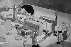 178 of 183. The pieces of The Monster are blown away and begin accidentally reassembling themselves. | Hollywood Capers (1935) | A Warner Bros./Looney Tunes short animated film featuring Beans the Cat. Directed by Jack King.