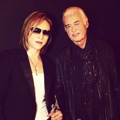 Jimmy Page with performer Yoshiki at the Classic Rock Awards Nov. 11, 2016