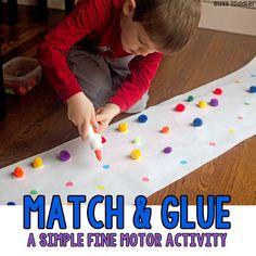 Preschool Fine Motor Activity: Match & Glue