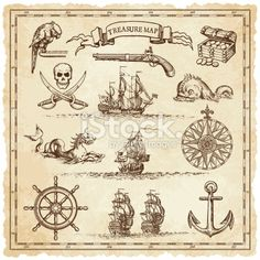 """A collection of very high detail ornaments designed to illustrate vintage or """"treasure"""" maps or other designs related to vintage travels or pirates."""