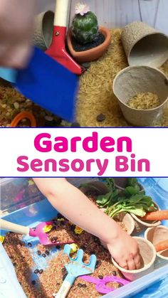 A garden sensory bin containing brown rice and dried beans. Perfect for talking about the importance of gardening and the plant life cycle. #sensorybin #sensoryplay #garden #gardenwithkids #kidsactivities #preschool #spd