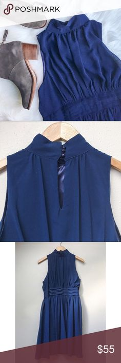 NWT ModCloth Windy City A-Line Dress This navy blue ModCloth dress features softly gathered details along its high neckline and cummerbund-style waistband in a breezy chiffon style. Fully lined, side zipper closet, and back button detail.   ✅Offers ✅Bundle & Save Trades Off-Posh Modeling ModCloth Dresses