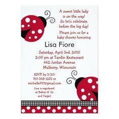 Polka Dot Red Ladybug Baby Shower Invitations