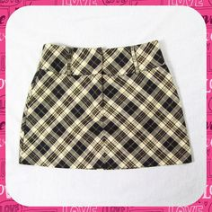 "ARDEN B Gold Plaid Micro Mini Skirt Size XS / 2 Flirty gold plaid micro mini skirt with gold metallic thread for shimmer! Cotton blend with large loops to accommodate a wide belt. Front zip closure. Not lined. Size 2 or XS for a 27"" waist. Length: 13.5"". Looks Like New! Arden B Skirts Mini"