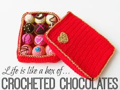 Valentine's Day crocheted box of chocolates free pattern