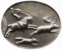 A Persian horseman chases a stag and a fox. London, WA 120332. Pink chalcedony scaraboid. 20mm. GGFR pl. 888.