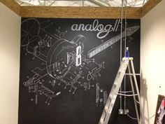 Chalkboard paint wall. Guitar mural done by hand with chalk and projector.