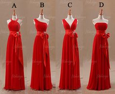 red bridesmaid dress, long bridesmaid dress, chiffon bridesmaid dress, custom bridesmaid dress, cheap bridesmaid dress, 140094 op Etsy, 92,99€