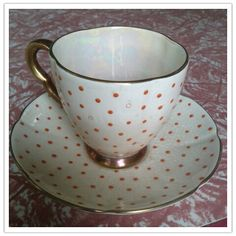 Items similar to Carlton Ware Rouge Royale hand painted polka dot cream orange gold gilt iridescent rainbow shimmer tea cup saucer coffee on Etsy Carlton Ware, Dining Nook, Chocolate Pots, China Patterns, Coffee Set, Tea Cup Saucer, Fine China, Teacups, Fine Dining