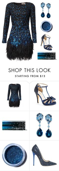 """Starry Night"" by theseapearl ❤ liked on Polyvore featuring Matthew Williamson, Menbur, Jimmy Choo, Lime Crime, partydress, longsleeve and holidaystyle"