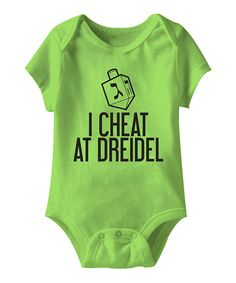 How cute!  'I Cheat At Dreidel' - Infant on #zulily today!