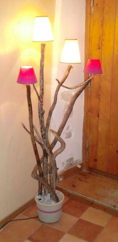 Diy faire une lampe soi m me mod le en bois flott 1 for Chandelier bois flotte