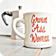 Funny Mug coffee cup tea cup diner mug red white hand painted grown ass woman for her womens ceramic mug unique coffee mug