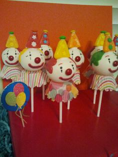 Carnival Clown cake pops. Used candy starburst for hats and mini m's for top of hats & noses.