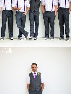 It's a Shore Thing Wedding Planning | VUE Photography groomsmen in grey & purple suspenders #beach #wedding #destination
