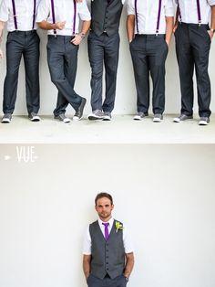 It's a Shore Thing Wedding Planning | VUE Photography   groomsmen in grey & purple suspenders #beach #wedding #destination