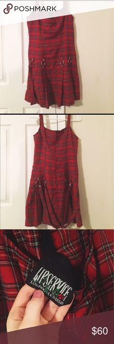 PRICE DROP! Vintage 90's grunge plaid dress This vintage red and black LIP SERVICE dress will bring you back to the 90s and channel your inner rocker chick! NO stains, loose seams, rips or tears. Size medium but fits size small as seen on the model!Minimal wear, which is super rare for vintage lip service finds! MAKE ME AN OFFER! lip service Dresses Mini