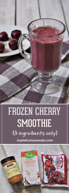 This super easy frozen cherry smoothie has only 3 ingredients - frozen cherries, almond milk and almond butter. It takes no time to make it, and it will have you feeling super! Great as a breakfast or a snack! Cherry Recipes Healthy, Almond Milk Smoothie Recipes, Almond Butter Smoothie, Cherry Smoothie, Smoothie Blender, Smoothie Prep, Juice Smoothie, Frozen Cherries, Sweet Cherries