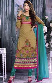 Picture of Magnificient Beige Color Churidar Kameez