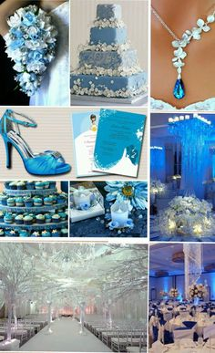 Blue, White, and Silver. Winter wonderland theme. Memorable, glitter, and different.