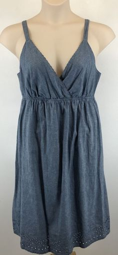 Faded Glory Size 14 Chambray Sundress Eyelet Trim Adjustable Straps Knee Length #FadedGlory #Sundress #SummerBeach