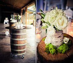 Wine Bottles And Barrel Wedding Decor