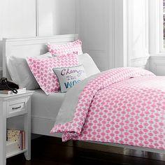 Ikat Dot Organic Duvet Cover + Pillowcases, Bright Pink #pbteen