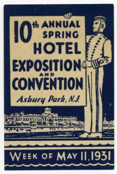 Hotel Exposition ~ASBURY PARK NJ~ Great Old BELLMAN Poster Stamp, 1931