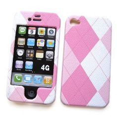 """Apple iPhone 4 & 4S Snap-on Protector Hard Case Texturized """"Pink Plaid"""" Design (Wireless Phone Accessory)"""